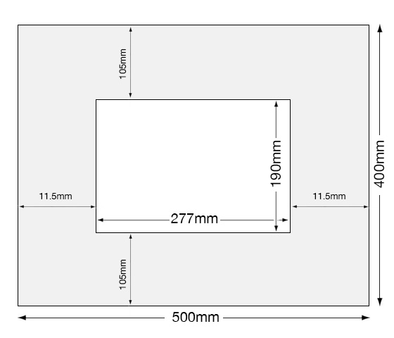 Measurements for A4 PAGB Camera Club Competition Card Mounts